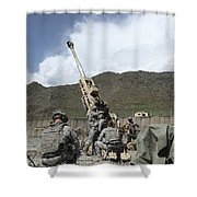 U.s. Soldiers Prepare To Fire Shower Curtain