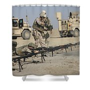 U.s. Soldiers Prepare To Fire Weapons Shower Curtain by Terry Moore