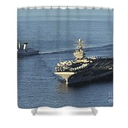 Uss Abraham Lincoln And French Navy Shower Curtain