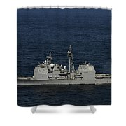 Uss Bunker Hill Fires Two Mk-45 5 Shower Curtain