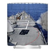 Uss Halsey Fires Its Mk-45 Shower Curtain