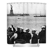Uss Pennsylvania Sailors Cheer Shower Curtain