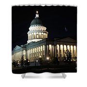 Utah Capitol At Night Shower Curtain by Gary Whitton