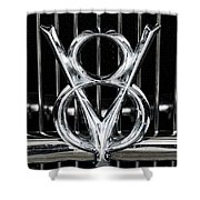 V-8 Car Emblem Shower Curtain