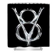V8 Chrome Emblem Shower Curtain