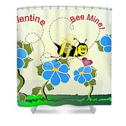 Valentine Bee Mine Shower Curtain