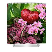 Valentine Heart And Flowers Shower Curtain