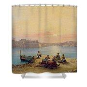 Valetta Harbour At Sunset Shower Curtain