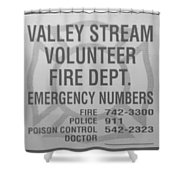Valley Stream Fire Department In Black And White Shower Curtain