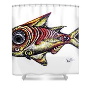 Variegated Red Fish In Stipple Shower Curtain