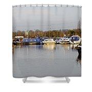 Various Boats At Barton Marina Shower Curtain