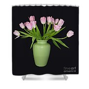 Vase Of Pink Tulips Shower Curtain