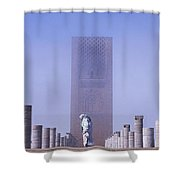 Veiled Woman Walking Infront Of Hassan Shower Curtain by Axiom Photographic