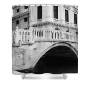 Venice Bridge Bw Shower Curtain