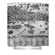 Venice: Map, C1566 Shower Curtain