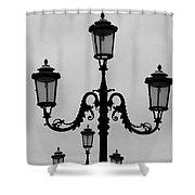 Venitian Lamp Posts Bw Shower Curtain