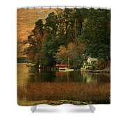 Vermont Autumn Shoreline Shower Curtain