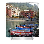 Vernazza's Harbor Shower Curtain