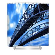 Very Blue Water Bridge  Shower Curtain