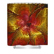 Vibrant Red And Gold Shower Curtain