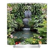 Victorian Garden Waterfall - Digital Art Shower Curtain