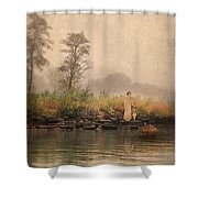 Victorian Lady By Row Boat Shower Curtain