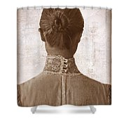 Victorian Lady From Behind Shower Curtain