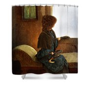 Victorian Lady Gazing Out The Window Shower Curtain