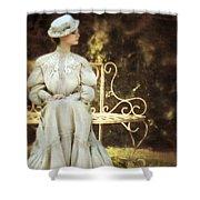 Victorian Lady On Garden Bench Shower Curtain