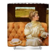 Victorian Lady Riding In A Carriage Shower Curtain