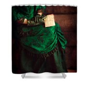 Victorian Lady With Letters Shower Curtain