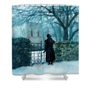 Victorian Woman At The Churchyard Gate Shower Curtain