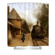 Victorian Woman At Train Station Shower Curtain
