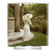 Victorian Woman In Garden With Parasol Shower Curtain