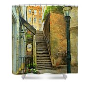 Viennese Side Street Shower Curtain