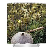 Vietnamese Conical Hat And Rice Cutting Shower Curtain