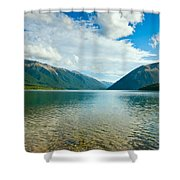 View Above A Beautiful Lake During Mid Day Shower Curtain