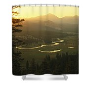 View At Dawn Of The Tuolumne River Shower Curtain