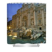 View At Dusk Of The Trevi Fountain Shower Curtain