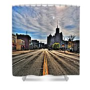 View Down Broadway Into Downtown Buffalo Ny Vert Shower Curtain