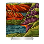 View From A Mountainside Shower Curtain