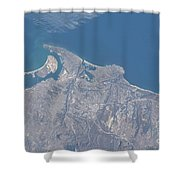 View From Space Of San Diego Shower Curtain