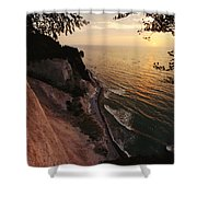 View Looking Down Cliffs At Sunset Shower Curtain