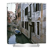 View Of A Canal In A Quiet Residential Shower Curtain