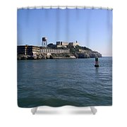 View Of Alcatraz From A Boat That Is Leaving The Island Shower Curtain