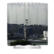 View Of Cable Car And Skyline From The Tiger Sky Tower In Sentos Shower Curtain