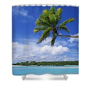 View Of Deserted Beach From Tapuae Tai Shower Curtain