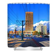 View Of Downtown Buffalo From The Tracks Shower Curtain
