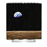 View Of Earth From The Moons Surface Shower Curtain