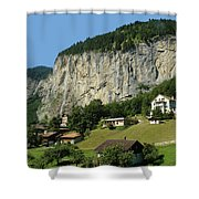 View Of Greenery And Waterfalls On A Swiss Cliff Shower Curtain